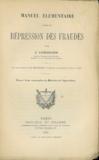 MANUEL ÉLÉMENTAIRE POUR LA RÉPRESSION DES FRAUDES, Préface de Henry Berthélémy