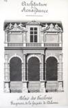 Architecture de la Renaissance. Palais des Tuileries. Fragment de la façade de Delorme [ Beau lavis original ]