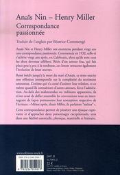 Correspondance passionnée - 4ème de couverture - Format classique