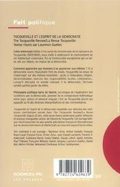 Tocqueville et l'esprit de la démocratie ;