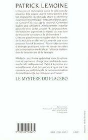 Le mystère du placebo - 4ème de couverture - Format classique