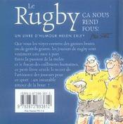 Rugby - Ca Nous Rend Fous ! - 4ème de couverture - Format classique
