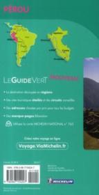 LE GUIDE VERT ; Pérou (édition 2011) - 4ème de couverture - Format classique