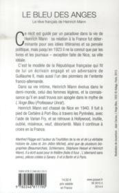 Le bleu des anges ; le rêve français de Heinrich Mann - 4ème de couverture - Format classique