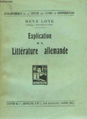 Explication De La Litterature Allemande - Couverture - Format classique