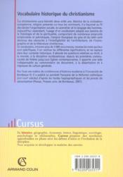 Vocabulaire historique du christianisme - 4ème de couverture - Format classique