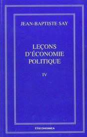 Lecons D'Economie Politique - Volume Iv - Intérieur - Format classique