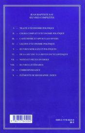 Lecons D'Economie Politique - Volume Iv - 4ème de couverture - Format classique