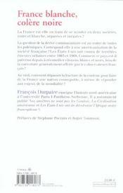 France blanche, colère noire - 4ème de couverture - Format classique