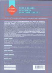 Faut-il brûler la gestion des compétences ? une exploration des pratiques en entreprise - 4ème de couverture - Format classique