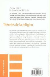 Theories de la religion - 4ème de couverture - Format classique