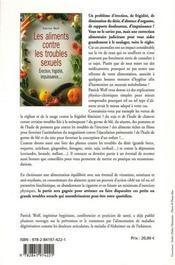 Les aliments contre les troubles sexuels ; érection, frigidité, impuissance - 4ème de couverture - Format classique