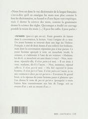 Petit dictionnaire des étymologies curieuses - 4ème de couverture - Format classique