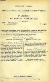 XIV, ARTS CHIMIQUES, 1, EMPLOI DU MAGNESIUM POUR LA PREPARATION CHIMIQUE DES HYDRURES METALLIQUES EN GENERAL ET DE L'HYDRURE DE PLOMB EN PARTICULIER, 2e ADDITION AU BREVET D'INVENTION N° 399-430, OFFICE NATIONAL DE LA PROPRIETE INDUSTRIELLE - Couverture - Format classique