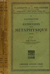 Entretiens Sur La Metaphysique, Suivis D4extraits Des Entretiens Sur La Mort, 2 Tomes - Couverture - Format classique
