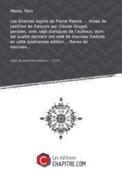 Les diverses leçons de Pierre Messie [édition 1526] - Couverture - Format classique
