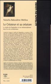 Createur et sa creature - 4ème de couverture - Format classique