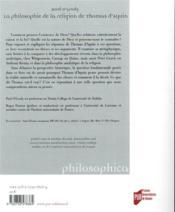 La philosohie de la religion de Thomas d'Aquin - 4ème de couverture - Format classique