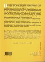 Technique Alexander pour le musicien (2e édition) - 4ème de couverture - Format classique