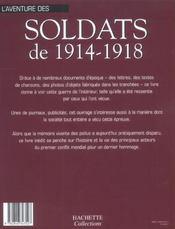 L'Aventure Des Soldats De 1914-1918 - 4ème de couverture - Format classique