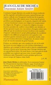 Impasse Adam Smith ; brèves remarques sur l'impossibilité de dépasser le capitalisme sur sa gauche - 4ème de couverture - Format classique