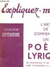 L'Art De Commenter Un Poeme Lyrique - Couverture - Format classique