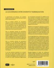 Gouvernance ; entre diversité et normalisation - 4ème de couverture - Format classique