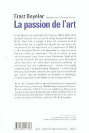 La passion de l'art entretiens avec christophe mory - 4ème de couverture - Format classique