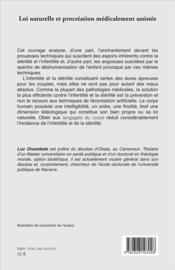 Loi naturelle et procréation médicalement assistée ; questions fondamentales de bioéthique et d'éthique biomédicale - 4ème de couverture - Format classique