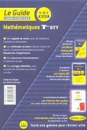 Mathematiques ; terminale stt ; cours et exercices - 4ème de couverture - Format classique