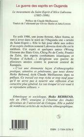 La Guerre Des Esprits En Ouganda 1985-1996 - 4ème de couverture - Format classique