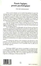 Pensee Logique, Pensee Psychologique ; L'Art Du Raisonnement - 4ème de couverture - Format classique