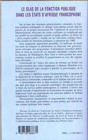 Le Glas De La Fonction Publique Dans Les Etats D'Afrique Francophone ; Essai Sur La Signification D'Une Institution - 4ème de couverture - Format classique