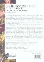 Chanson poetique du xixe siecle. origine statut et formes - 4ème de couverture - Format classique