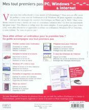 Mes tout premiers pas pc, windows et internet - 4ème de couverture - Format classique