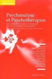 Psychanalyse Et Psychotherapies - Intérieur - Format classique