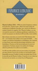 Maurice Leblanc ; 50 inédits ; d'abord vivre et autres nouvelles - 4ème de couverture - Format classique