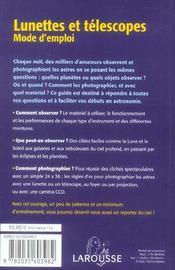 Lunettes et telescopes - mode d'emploi - 4ème de couverture - Format classique