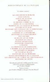 Romans et contes - 4ème de couverture - Format classique