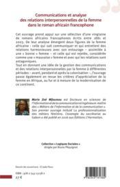Communications et analyse des relations interpersonnelles de la femme dans le roman africain francophone - 4ème de couverture - Format classique