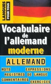 Vocabulaire de l'allemand moderne - Intérieur - Format classique