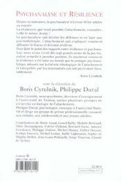 Psychanalyse et résilience - 4ème de couverture - Format classique