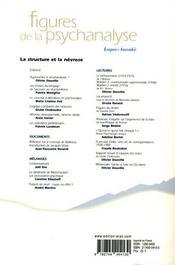 Revue Figures De La Psychanalyse T.12 ; La Structure Et La Névrose - 4ème de couverture - Format classique