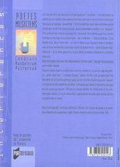 Poetes musiciens. cendrars mandelstam pasternak - 4ème de couverture - Format classique