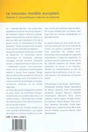 Le Nouveau Modele Europeen T2. Les Politiques Internes Et Externes - 4ème de couverture - Format classique