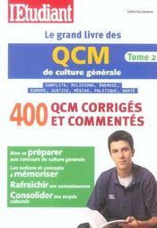 Le Grand Livre Des Qcm De Culture Generale T.2 - Intérieur - Format classique
