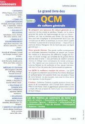 Le Grand Livre Des Qcm De Culture Generale T.2 - 4ème de couverture - Format classique