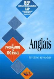 Anglais Le Programme En 100 Pages Bep-Cap - Couverture - Format classique