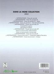 Mathematiques 1°S/E Analyse Algebre - 4ème de couverture - Format classique