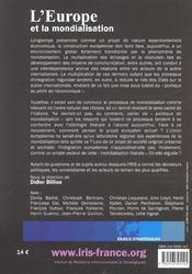 L'europe et la mondialisation - 4ème de couverture - Format classique